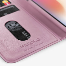 Pink Calfskin iPhone Folio Case for iPhone X finishing black - Hadoro Luxury Cases - img4