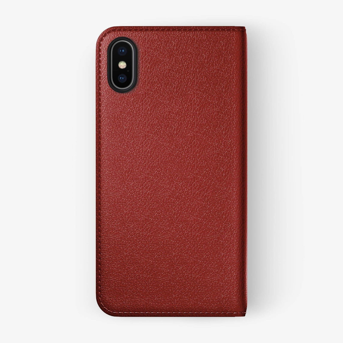 Calfskin Folio Case iPhone Xs Max | Red - Black without-personalization