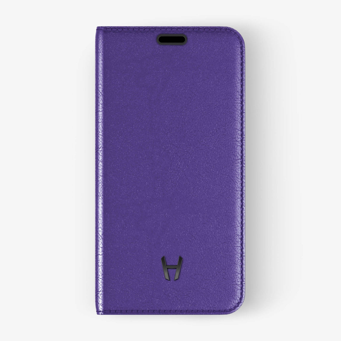 Violet Calfskin iPhone Folio Case for iPhone X finishing black - Hadoro Luxury Cases img1