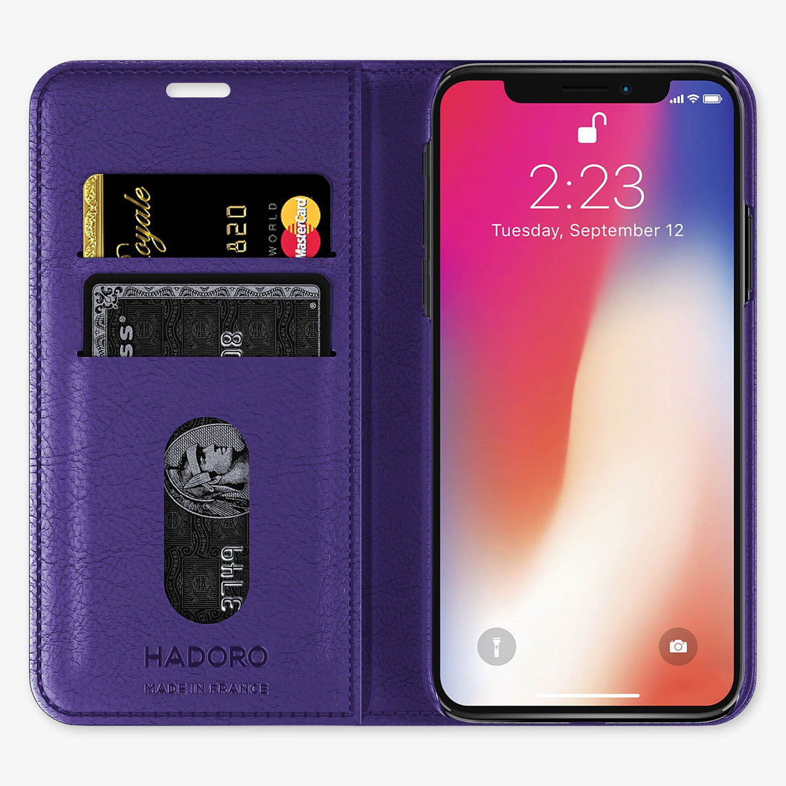 Violet Calfskin iPhone Folio Case for iPhone X finishing black - Hadoro Luxury Cases img3