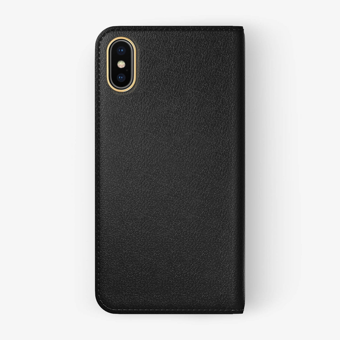 Black Calfskin iPhone Folio Case for iPhone X finishing yellow gold - Hadoro Luxury Cases img5
