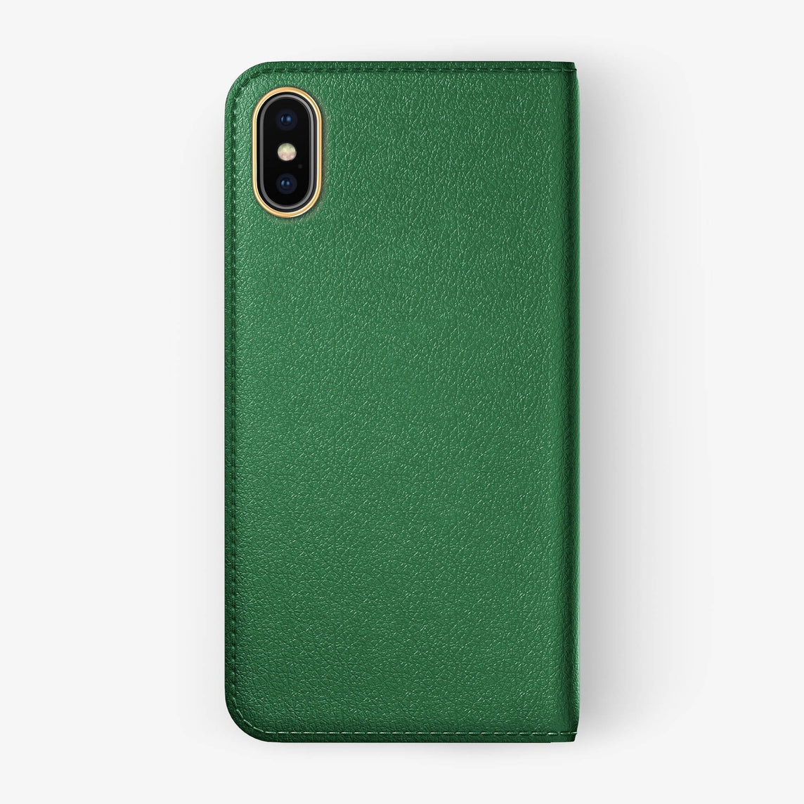 Green Calfskin iPhone Folio Case for iPhone X finishing yellow gold - Hadoro Luxury Cases - img5