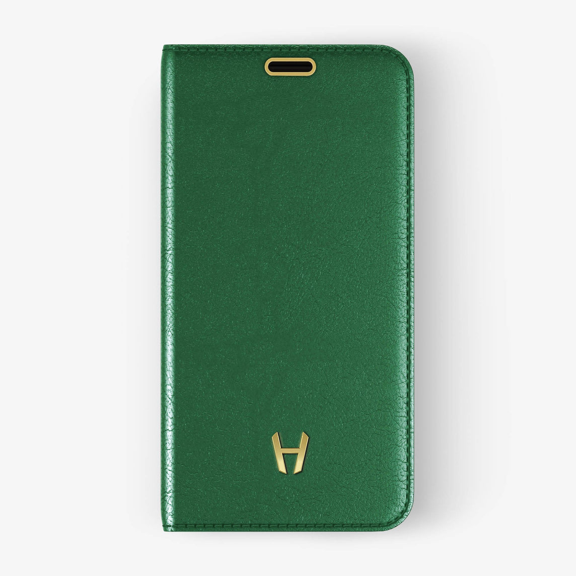 Green Calfskin iPhone Folio Case for iPhone X finishing yellow gold - Hadoro Luxury Cases - img1