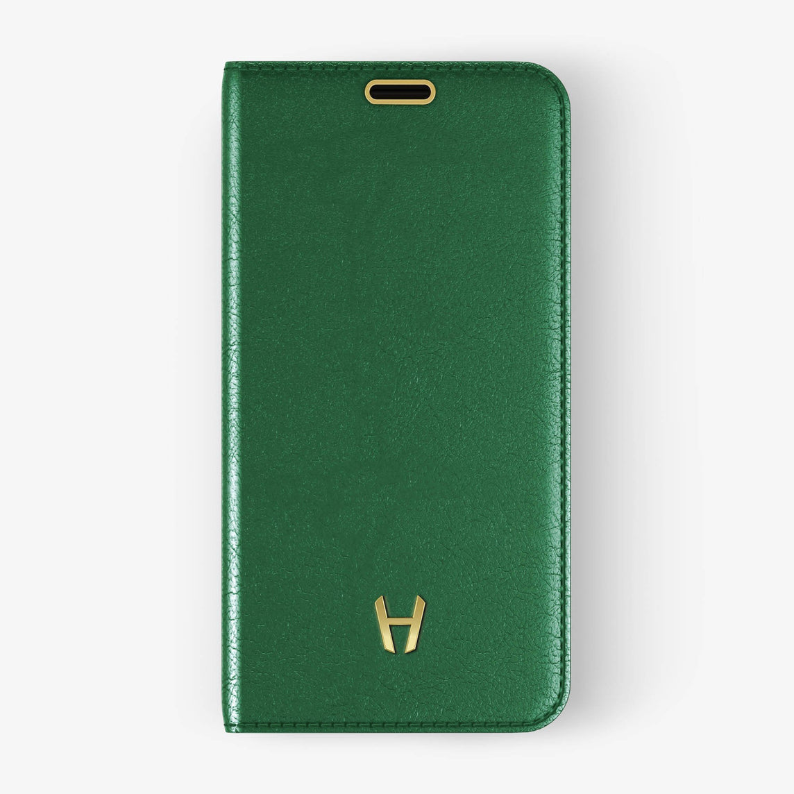 Calfskin Folio Case iPhone Xs Max | Green - Yellow Gold without-personalization