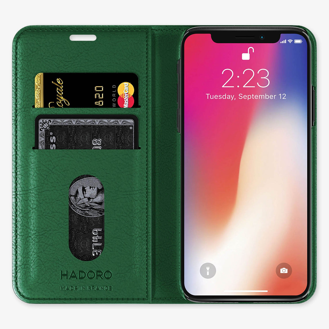 Green Calfskin iPhone Folio Case for iPhone X finishing yellow gold - Hadoro Luxury Cases - img3