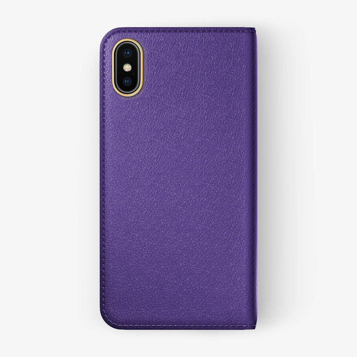Violet Calfskin iPhone Folio Case for iPhone X finishing yellow gold - Hadoro Luxury Cases - img5