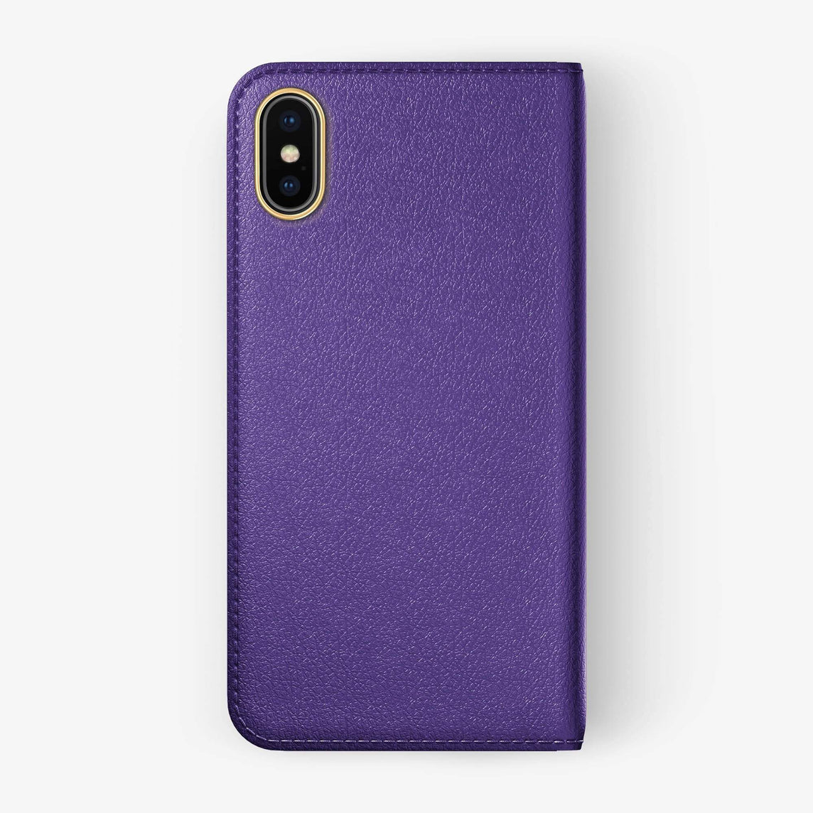 Violet Calfskin iPhone Folio Case for iPhone XS Max finishing yellow gold - Hadoro Luxury Cases - img5