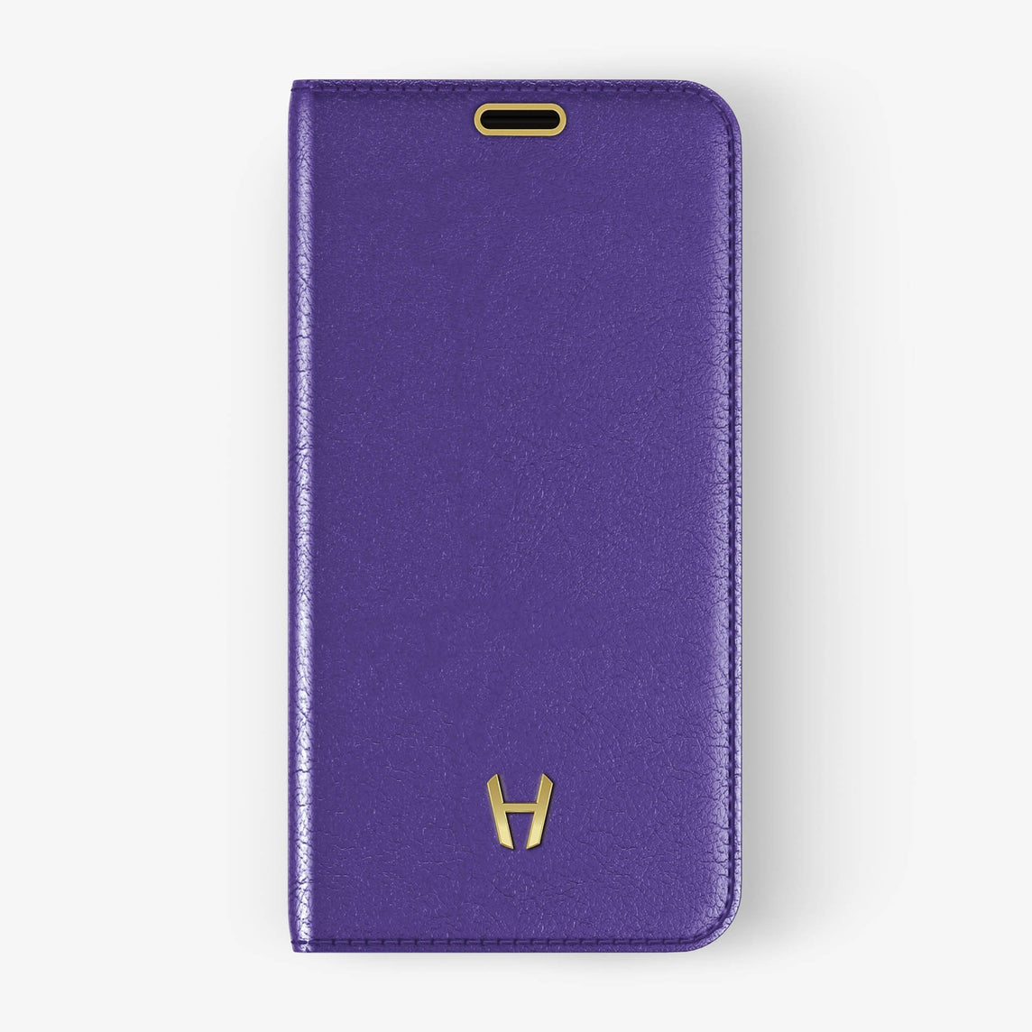 Violet Calfskin iPhone Folio Case for iPhone X finishing yellow gold - Hadoro Luxury Cases - img2