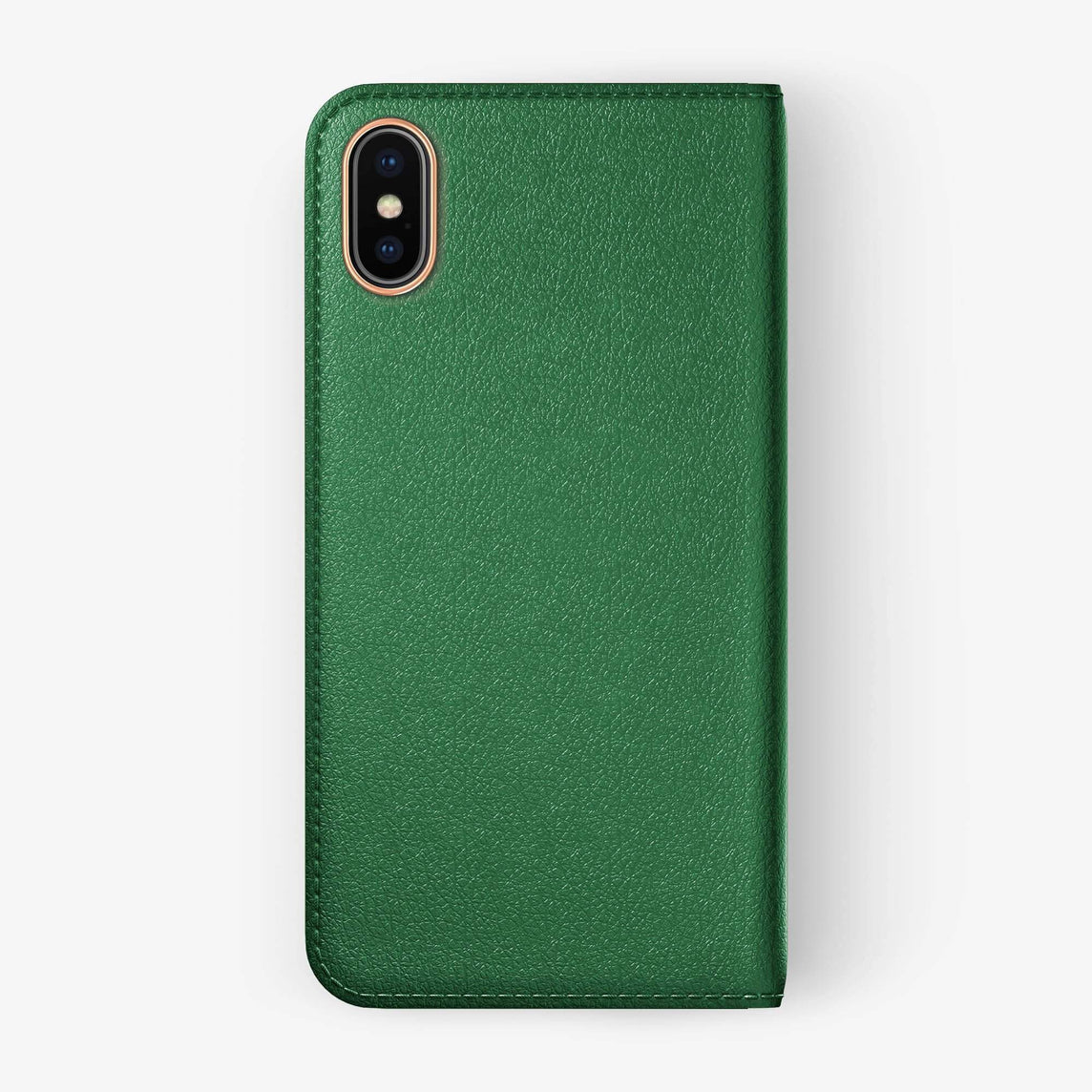 Green Calfskin iPhone Folio Case for iPhone XS Max finishing rose gold - Hadoro Luxury Cases - img5