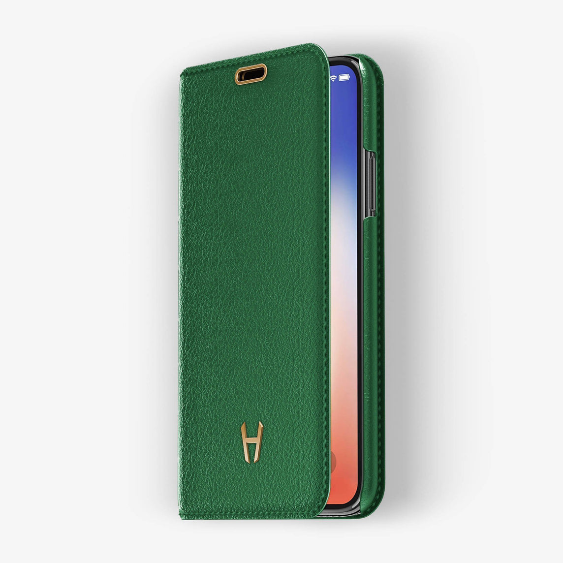 Green Calfskin iPhone Folio Case for iPhone XS Max finishing rose gold - Hadoro Luxury Cases - img2