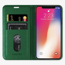 Green Calfskin iPhone Folio Case for iPhone XS Max finishing rose gold - Hadoro Luxury Cases - img3