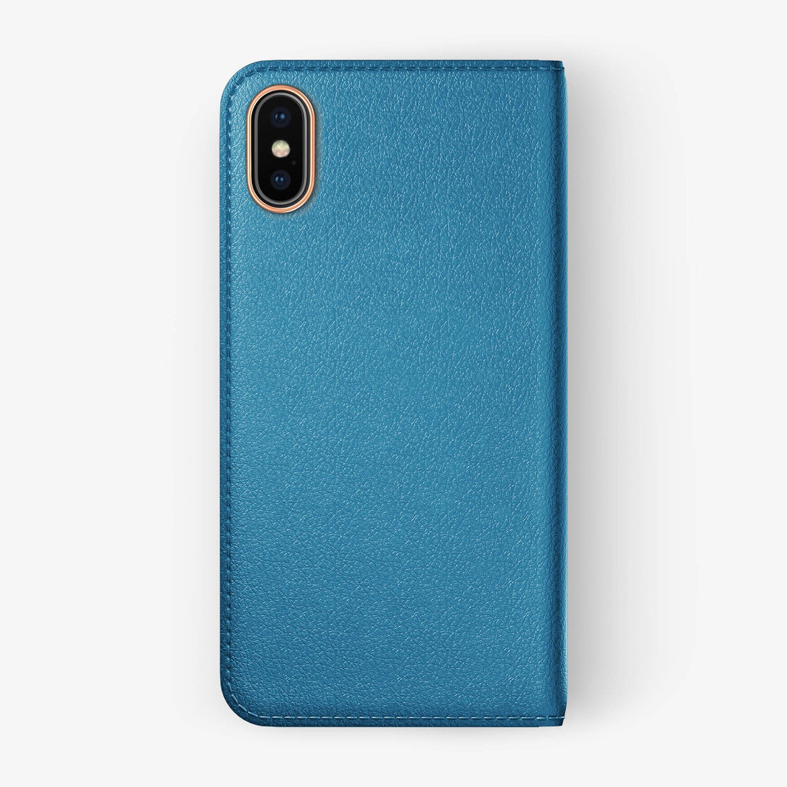 Peony Blue Calfskin iPhone Folio Case for iPhone X finishing rose gold - Hadoro Luxury Cases img5