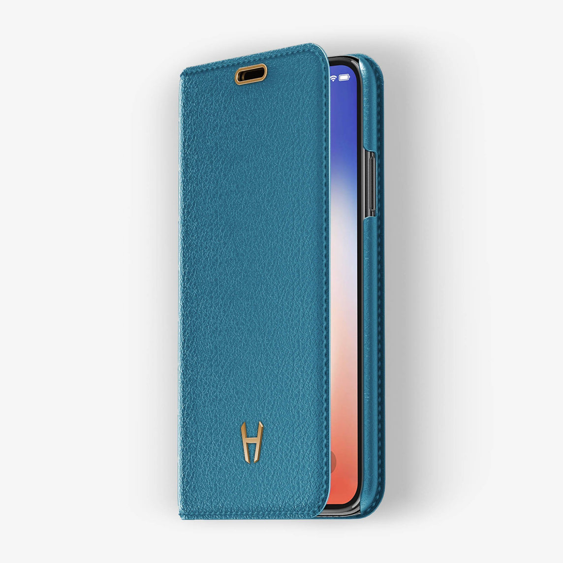 Peony Blue Calfskin iPhone Folio Case for iPhone X finishing rose gold - Hadoro Luxury Cases img2