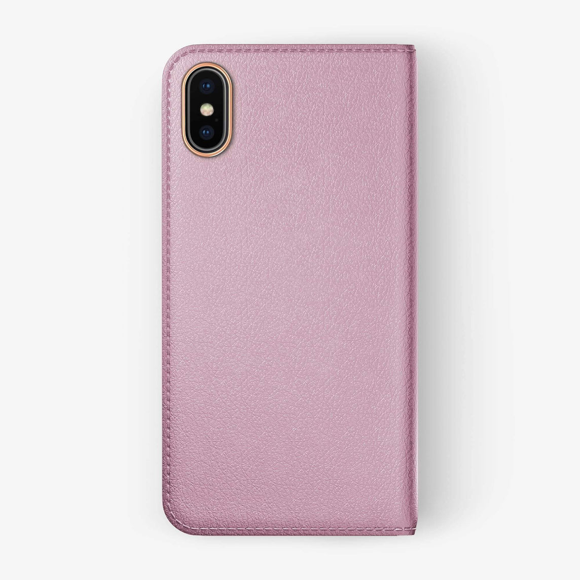 Pink Calfskin iPhone Folio Case for iPhone XS Max finishing rose gold - Hadoro Luxury Cases - img5