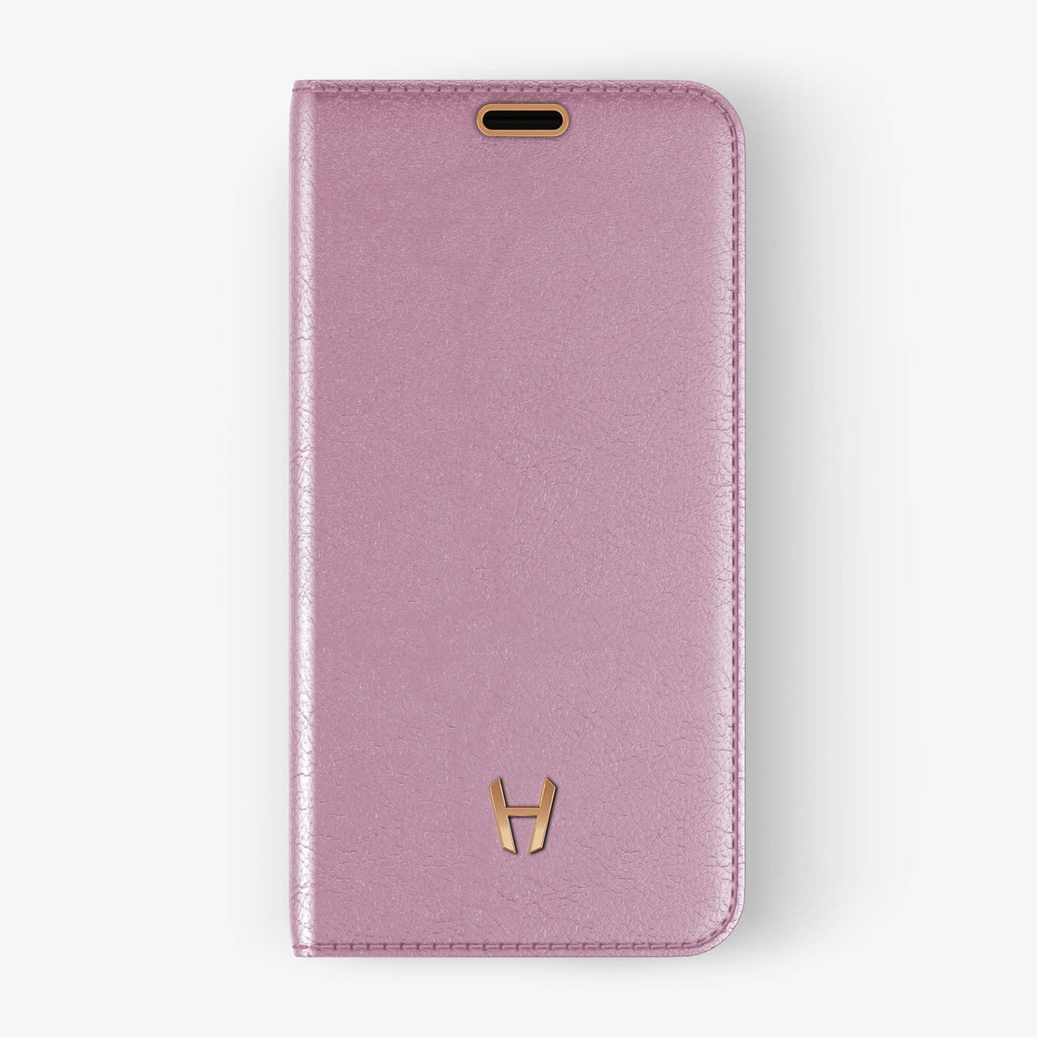 Pink Calfskin iPhone Folio Case for iPhone XS Max finishing rose gold - Hadoro Luxury Cases - img1