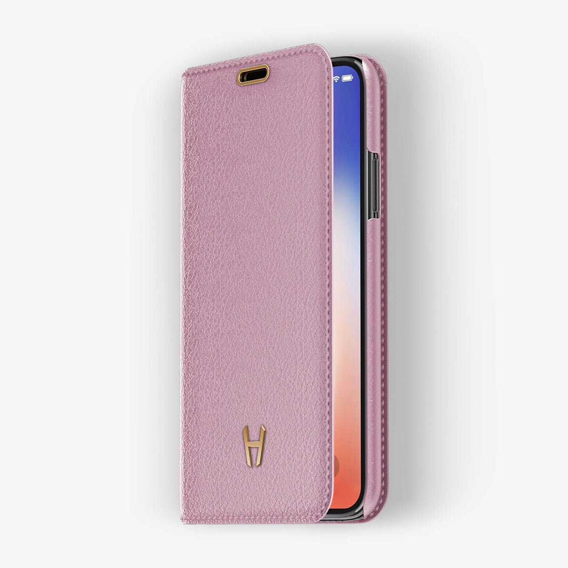 Pink Calfskin iPhone Folio Case for iPhone XS Max finishing rose gold - Hadoro Luxury Cases - img2