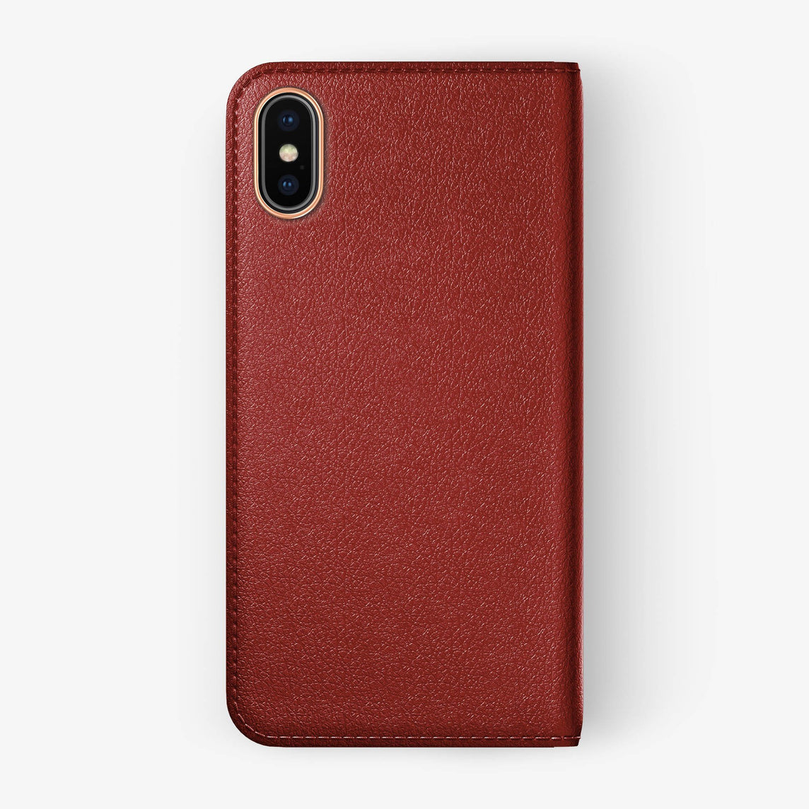 Red Calfskin iPhone Folio Case for iPhone X finishing rose gold - Hadoro Luxury Cases - img1