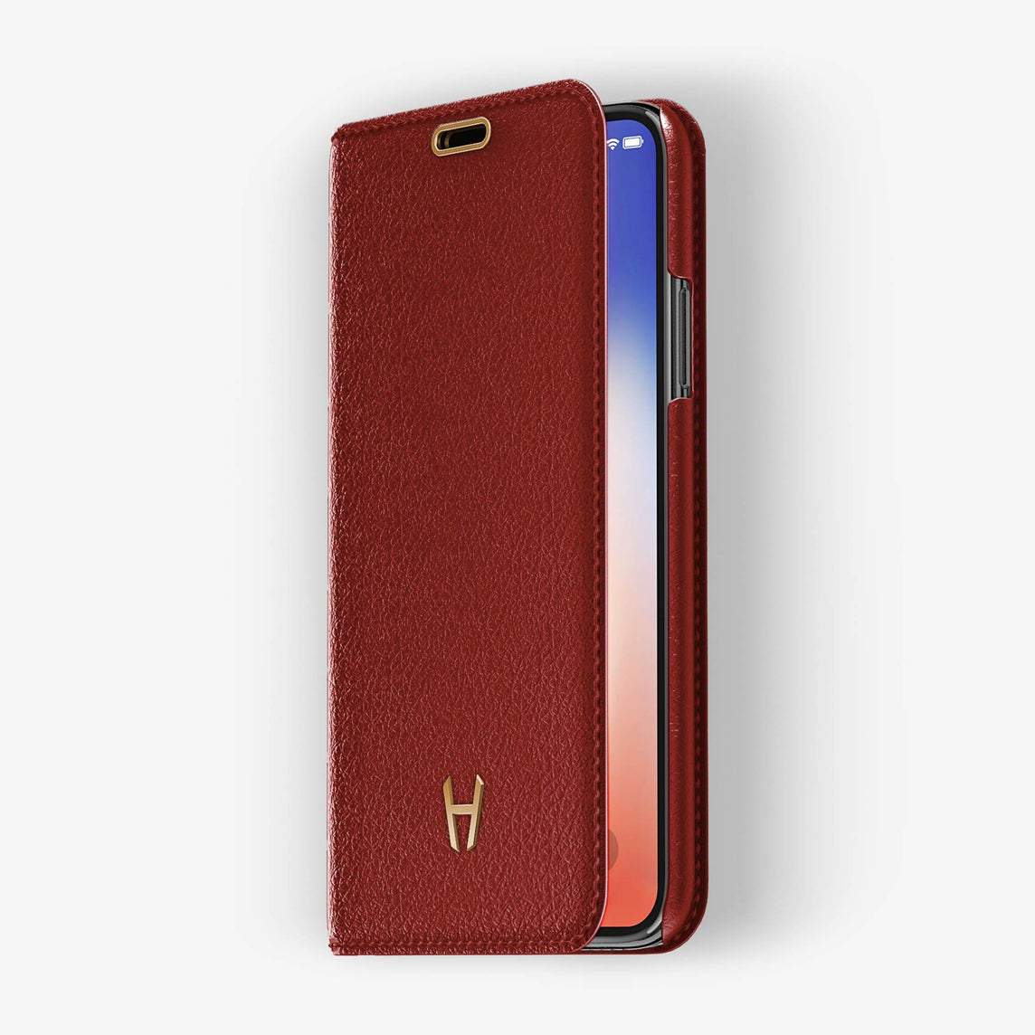 Red Calfskin iPhone Folio Case for iPhone X finishing rose gold - Hadoro Luxury Cases - img2