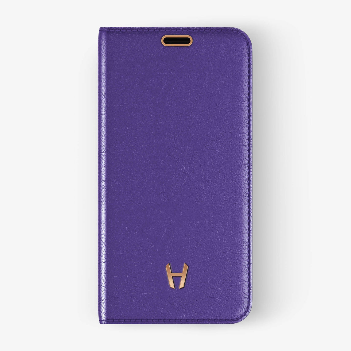 Calfskin Folio Case iPhone Xs Max | Violet - Rose Gold without-personalization