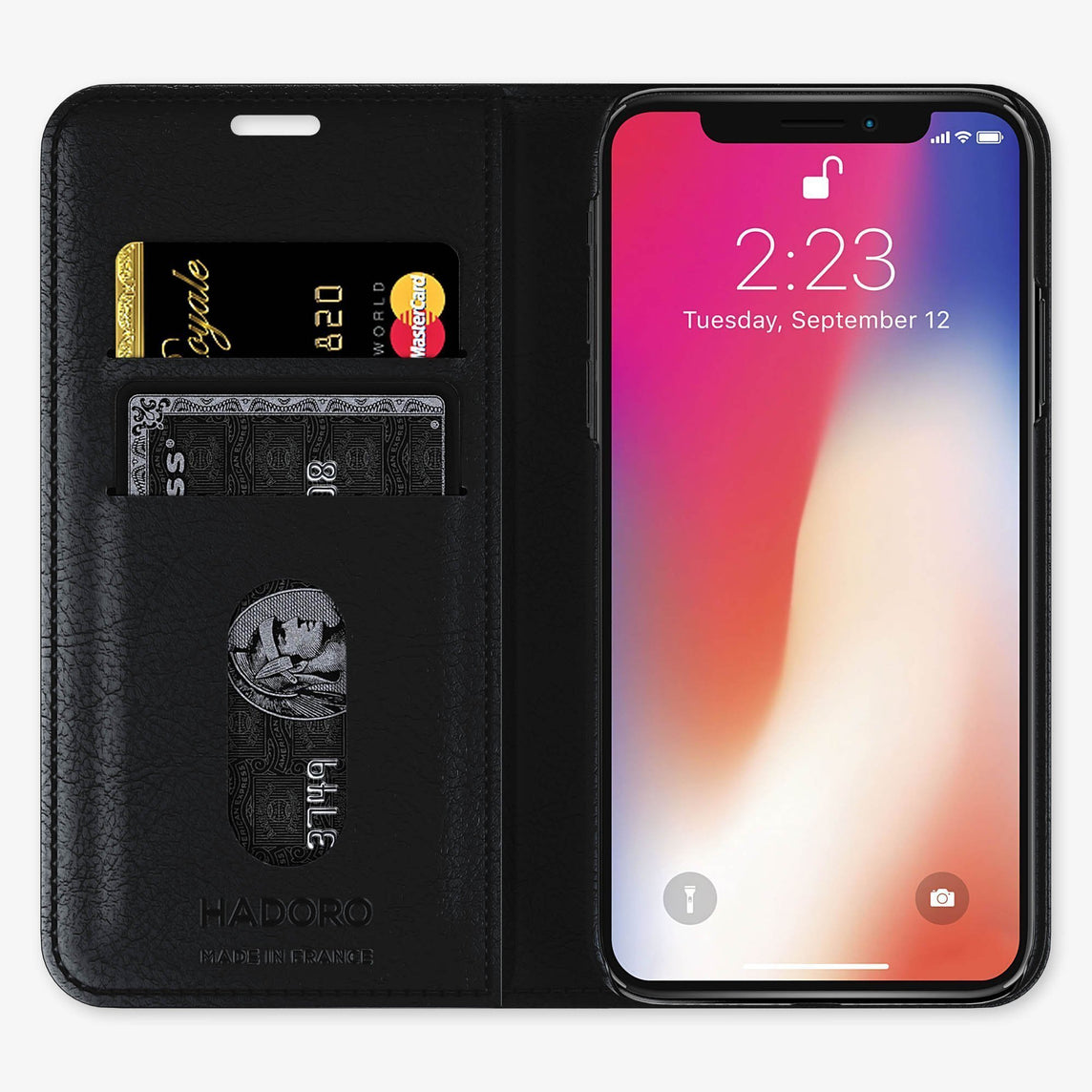 Calfskin Folio Case iPhone Xs Max | Black - Stainless Steel without-personalization