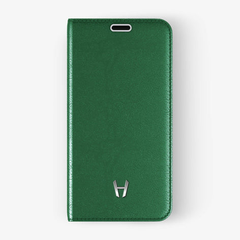 Green Calfskin iPhone Folio Case for iPhone X finishing stainless steel - Hadoro Luxury Cases - img1