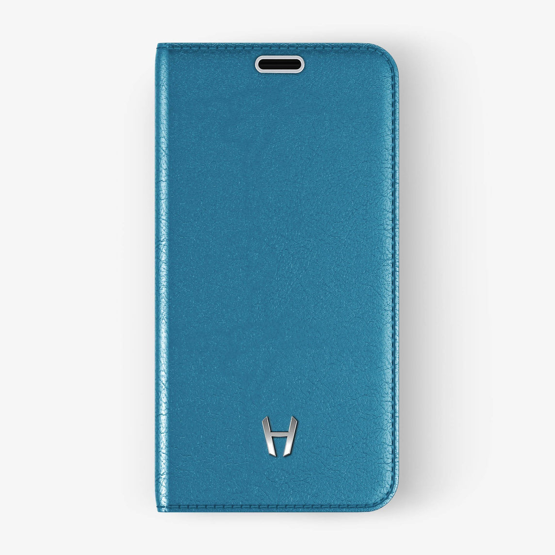 Calfskin Folio Case iPhone Xs Max | Peony Blue - Stainless Steel without-personalization