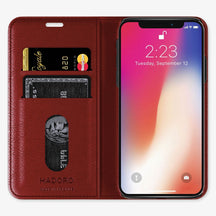 Calfskin Folio Case iPhone Xs Max | Red - Stainless Steel without-personalization