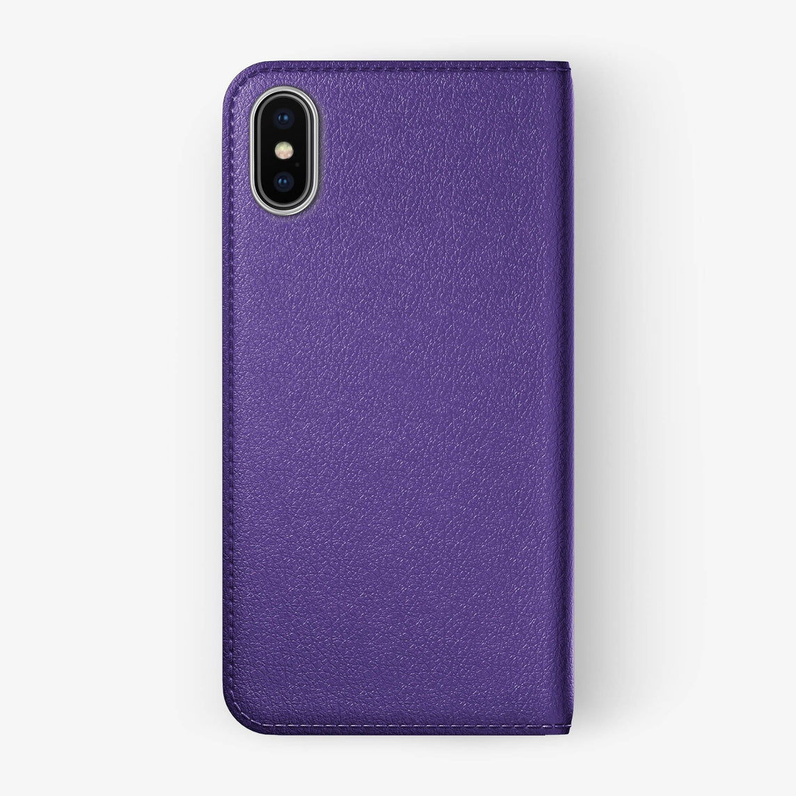 Calfskin Folio Case iPhone X/Xs | Violet - Stainless Steel without-personalization