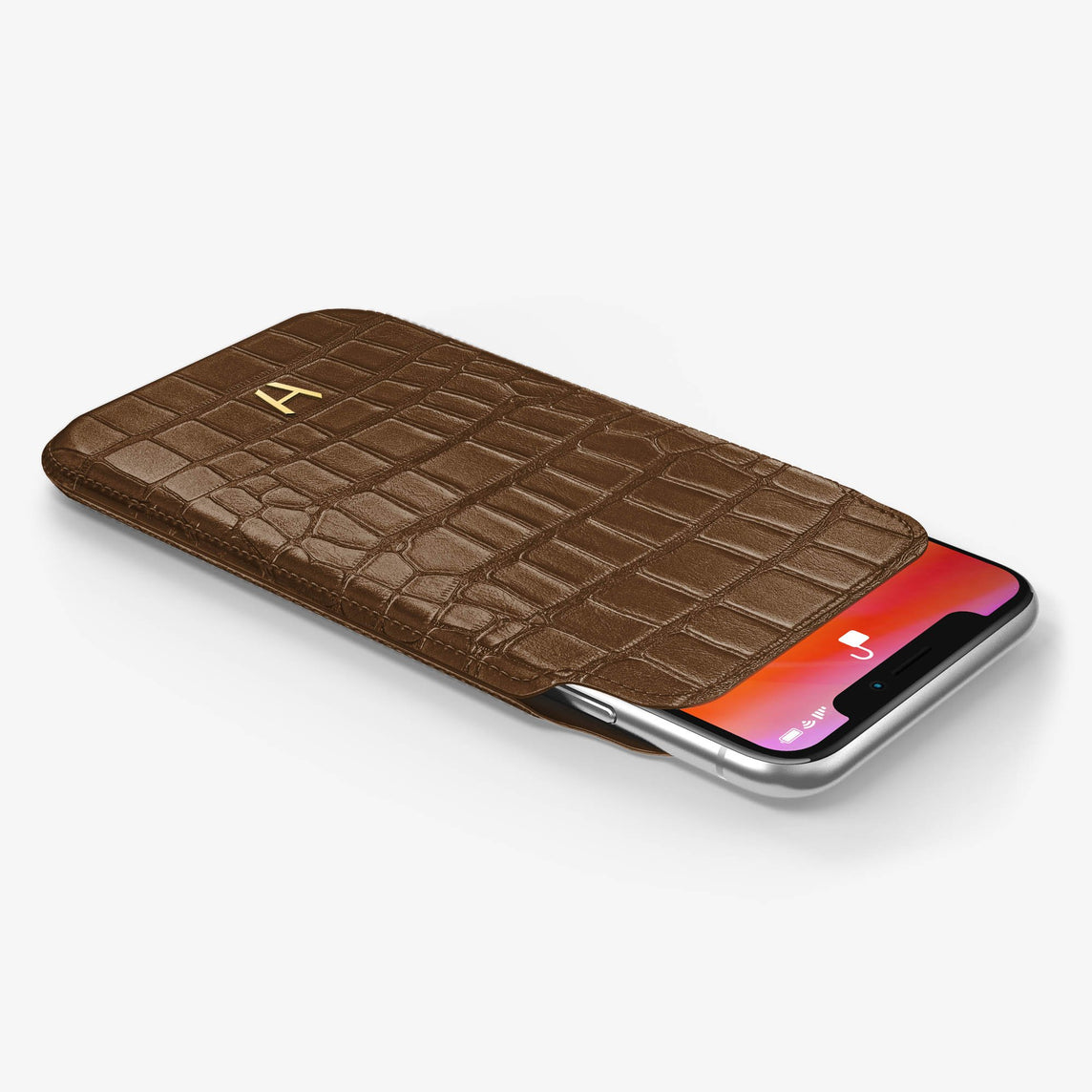 Alligator [iPhone Sleeve Case] [model:iphone-xs-case] [colour:brown] [finishing:yellow-gold]