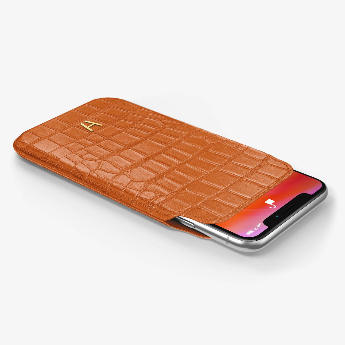 Alligator [iPhone Sleeve Case] [model:iphone-xsmax-case] [colour:orange] [finishing:yellow-gold]