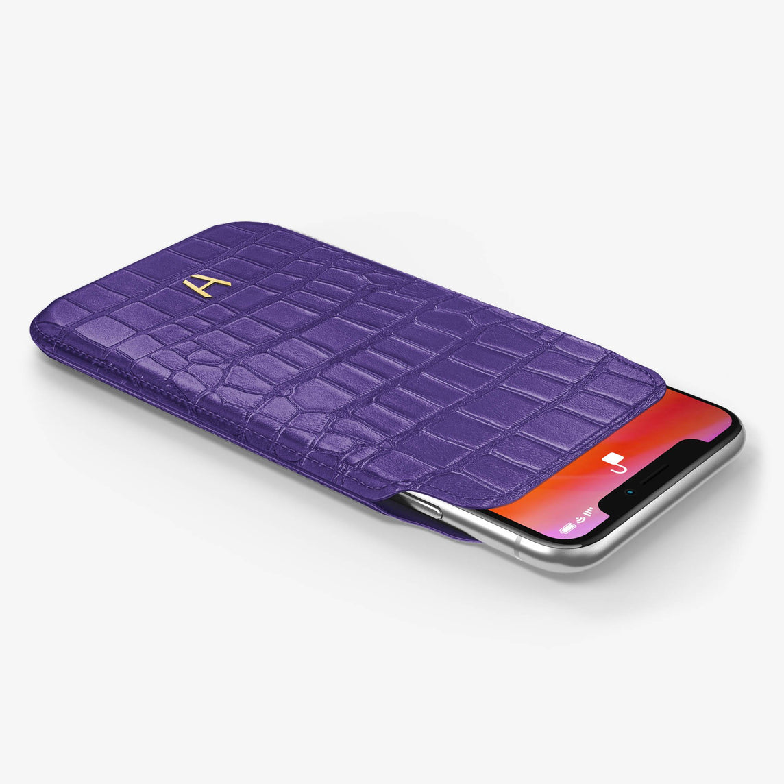 Alligator [iPhone Sleeve Case] [model:iphone-xs-case] [colour:purple] [finishing:yellow-gold]
