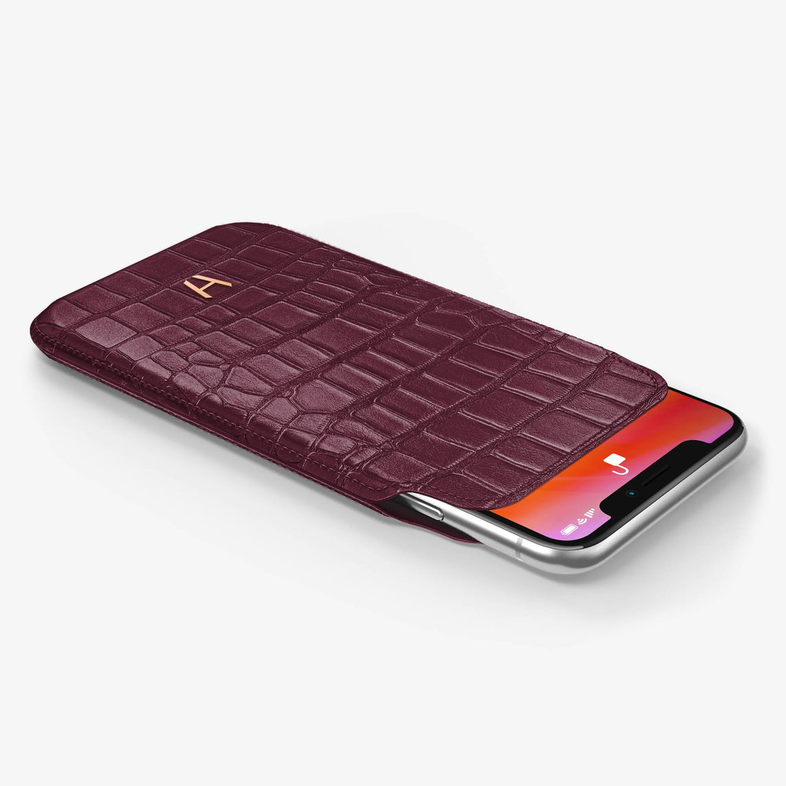 Alligator [iPhone Sleeve Case] [model:iphone-xs-case] [colour:burgundy] [finishing:rose-gold]