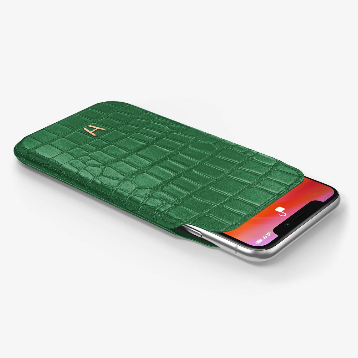 Alligator [iPhone Sleeve Case] [model:iphone-xr-case] [colour:green] [finishing:rose-gold]