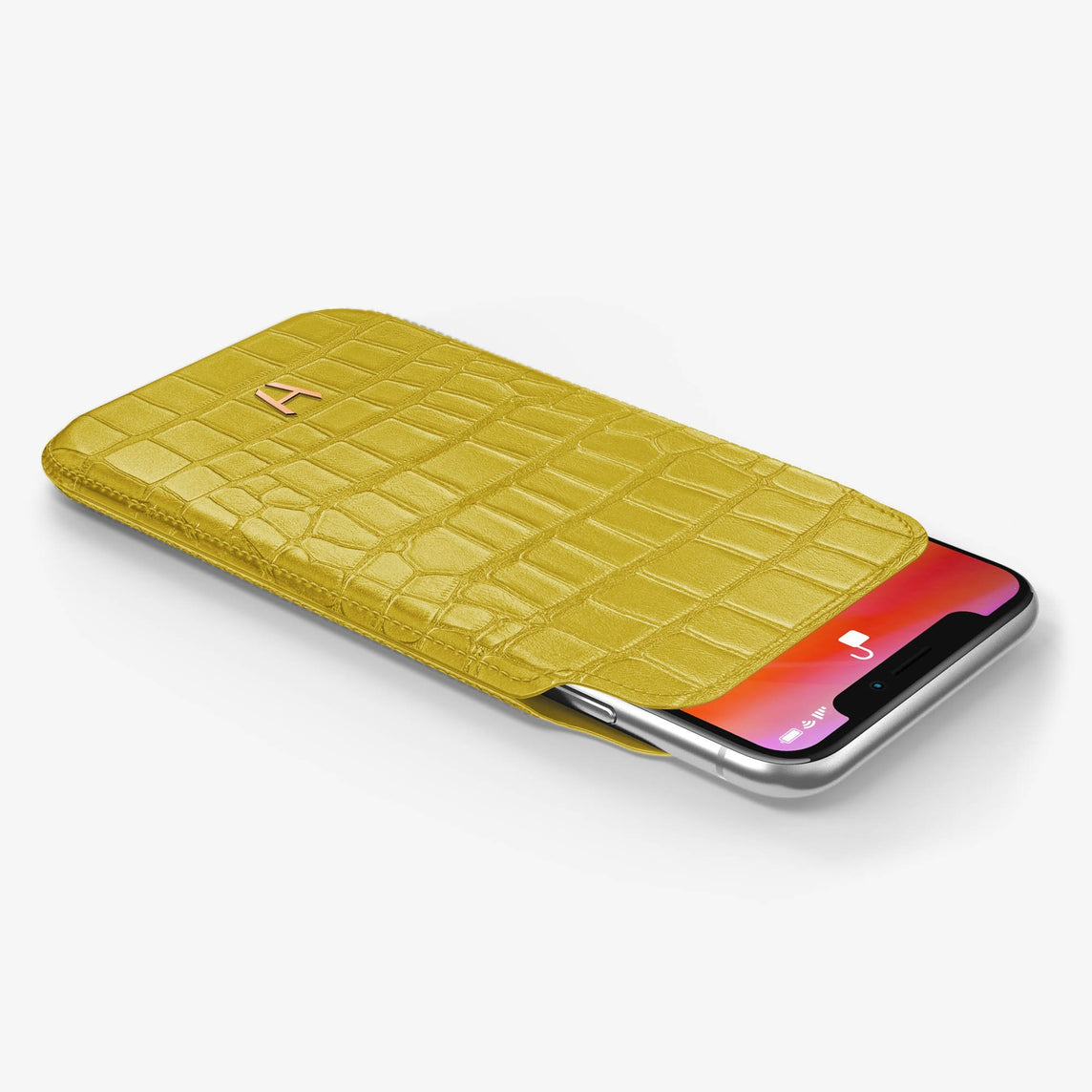 Alligator Sleeve Case iPhone Xr | Yellow - Rose Gold