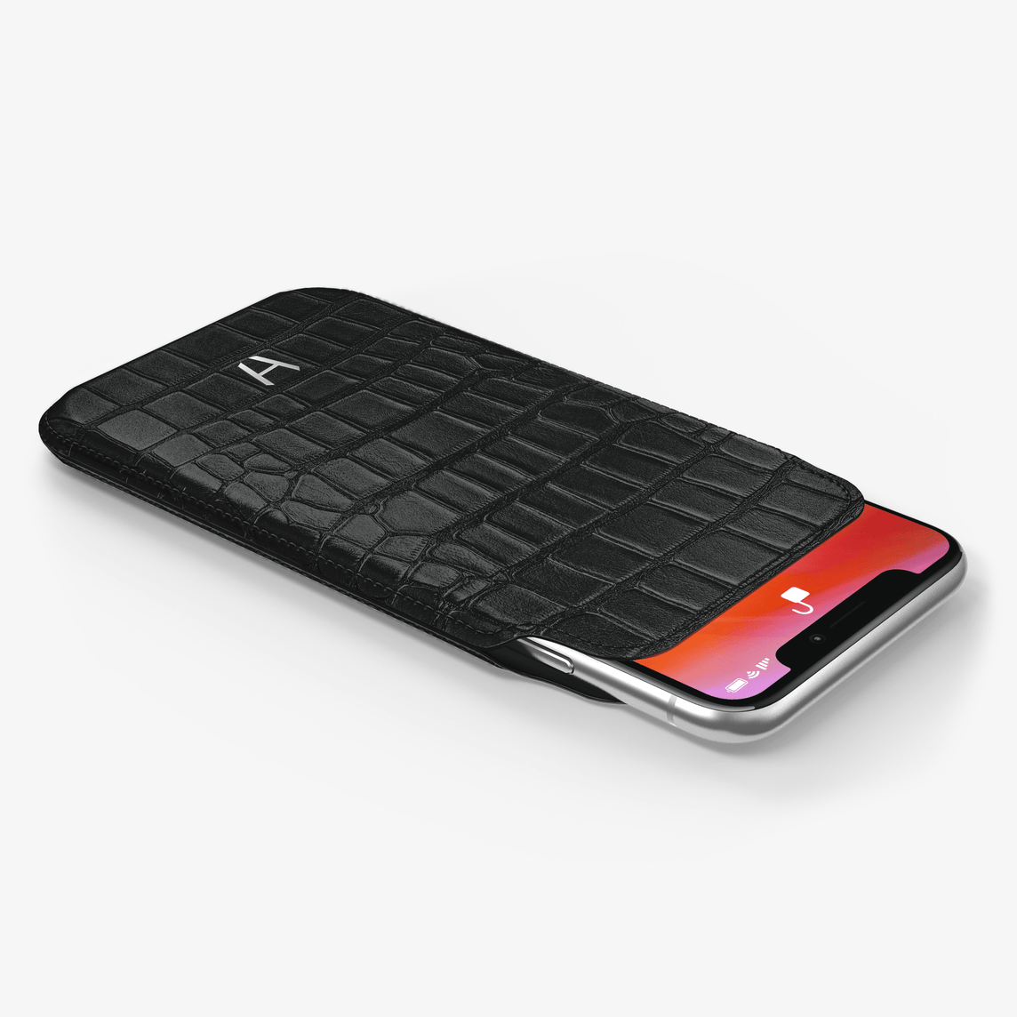 Alligator [iPhone Sleeve Case] [model:iphone-xs-case] [colour:black] [finishing:stainless-steel]