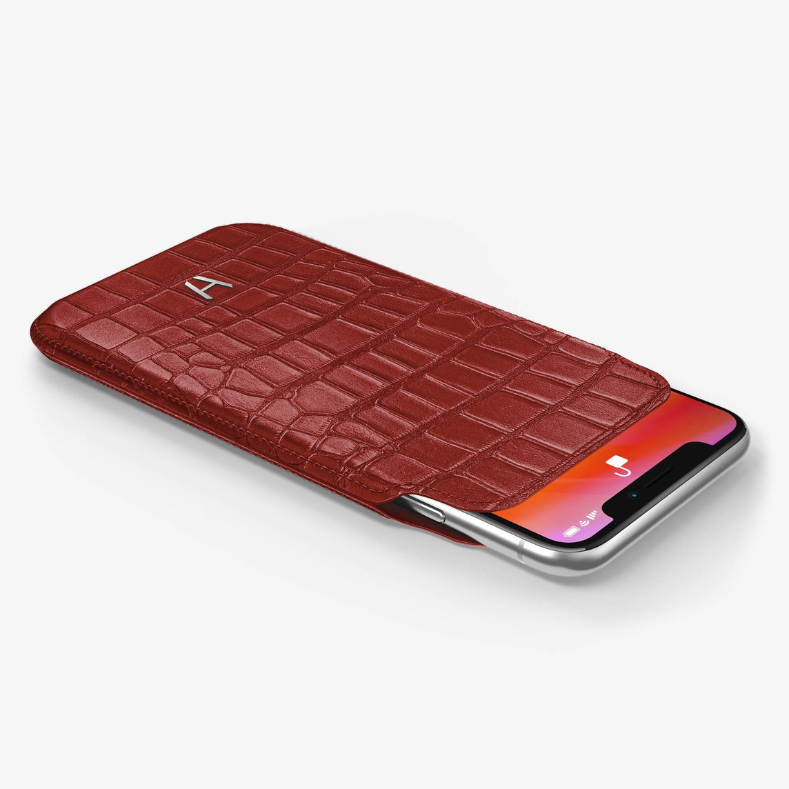 Alligator Sleeve Case iPhone Xs | Red - Stainless Steel without-personalization