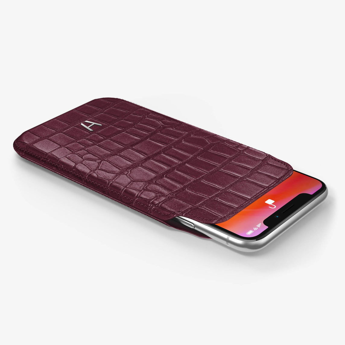 Alligator [iPhone Sleeve Case] [model:iphone-xs-case] [colour:burgundy] [finishing:stainless-steel]