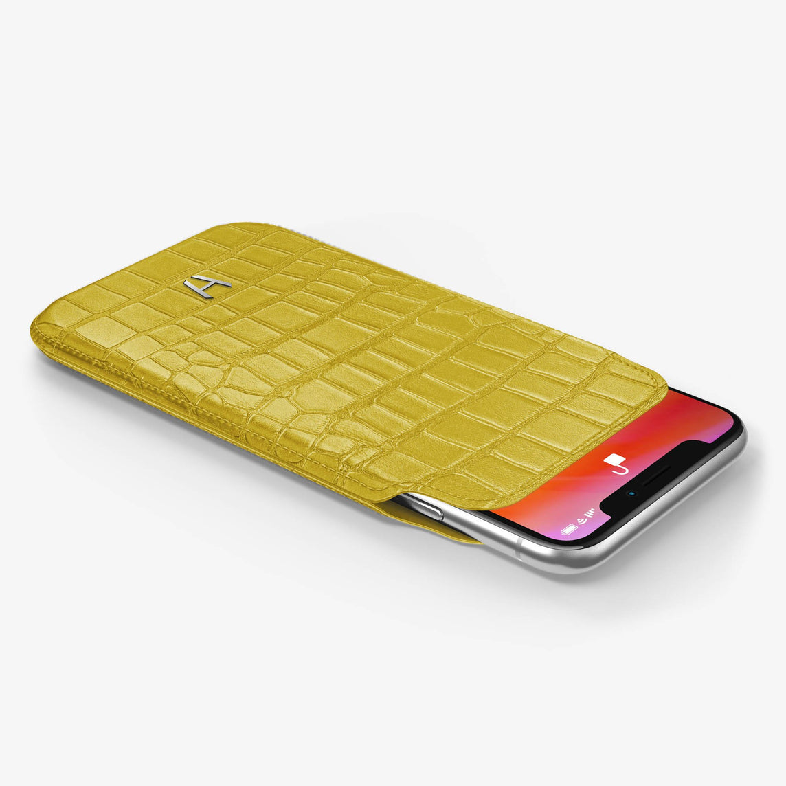 Alligator [iPhone Sleeve Case] [model:iphone-xs-case] [colour:yellow] [finishing:stainless-steel]