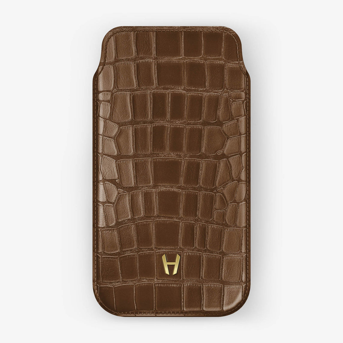 Alligator [iPhone Sleeve Case] [model:iphone-xr-case] [colour:brown] [finishing:yellow-gold]