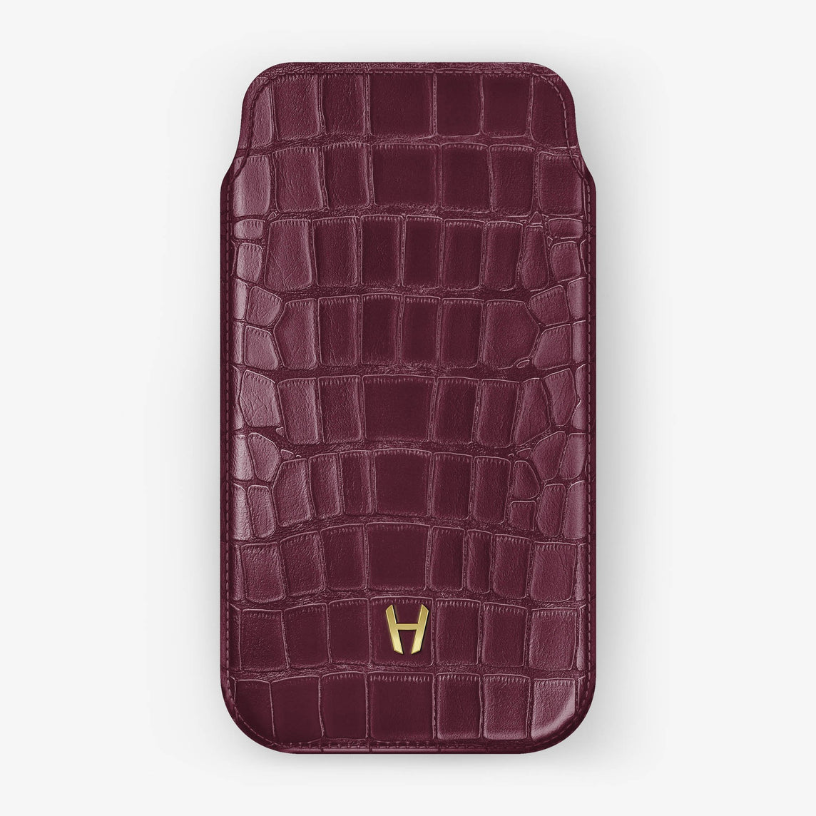 Alligator [iPhone Sleeve Case] [model:iphone-xr-case] [colour:burgundy] [finishing:yellow-gold]
