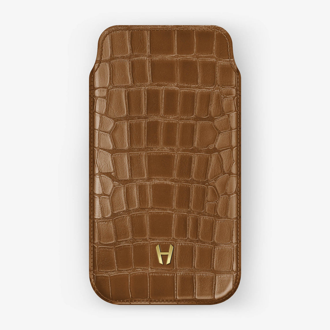 Alligator [iPhone Sleeve Case] [model:iphone-xsmax-case] [colour:cognac] [finishing:yellow-gold]