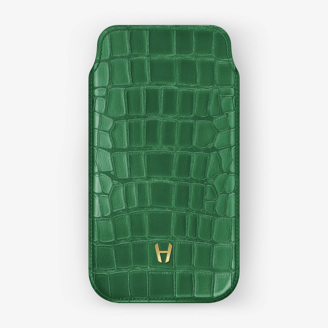 Alligator [iPhone Sleeve Case] [model:iphone-xs-case] [colour:green] [finishing:yellow-gold]