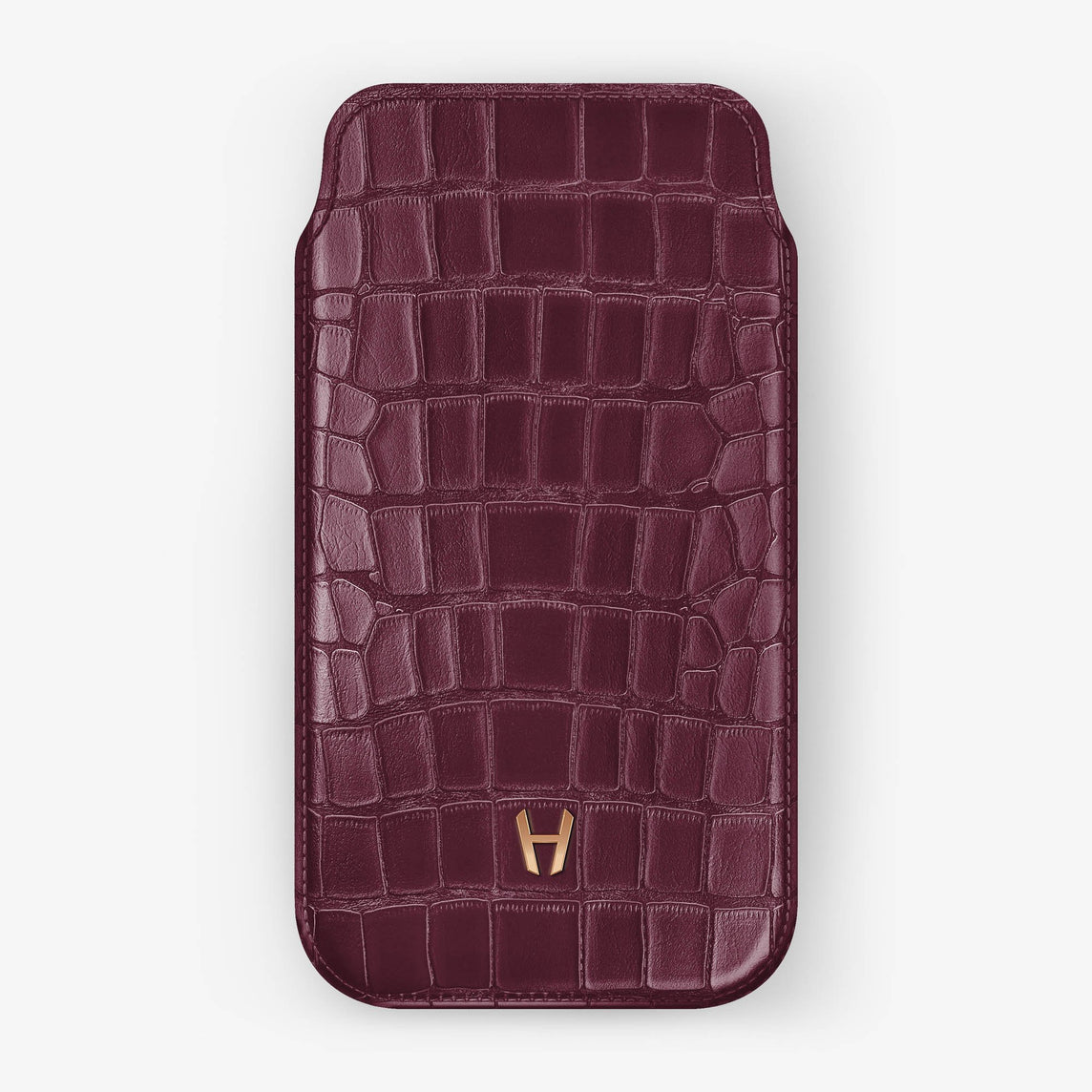 Alligator [iPhone Sleeve Case] [model:iphone-xsmax-case] [colour:burgundy] [finishing:rose-gold]