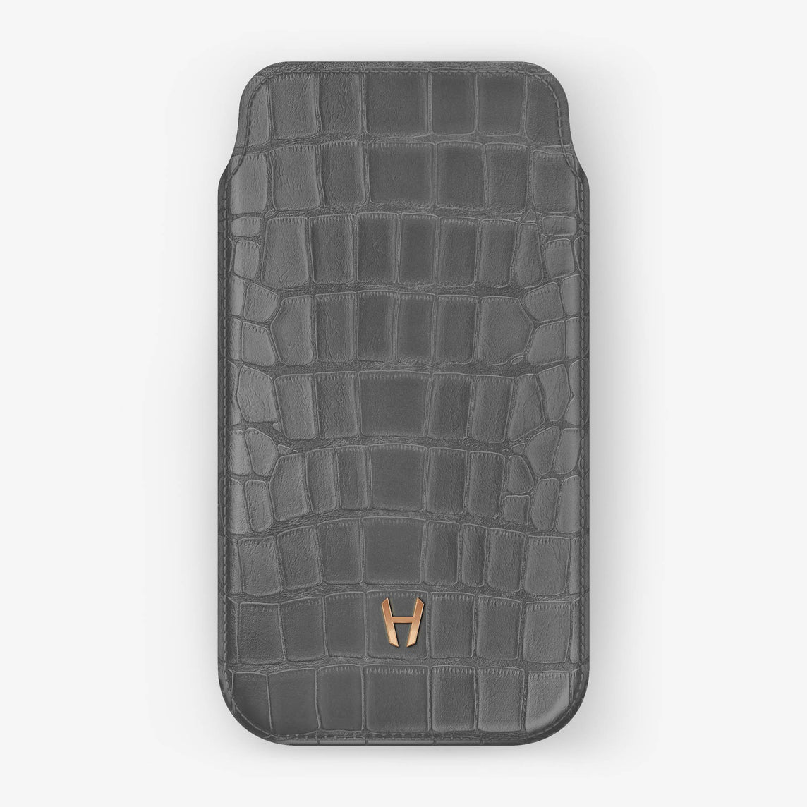 Alligator [iPhone Sleeve Case] [model:iphone-xs-case] [colour:light-grey] [finishing:rose-gold]