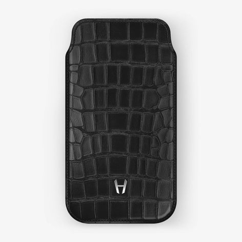 Alligator Sleeve Case iPhone Xs | Black - Stainless Steel