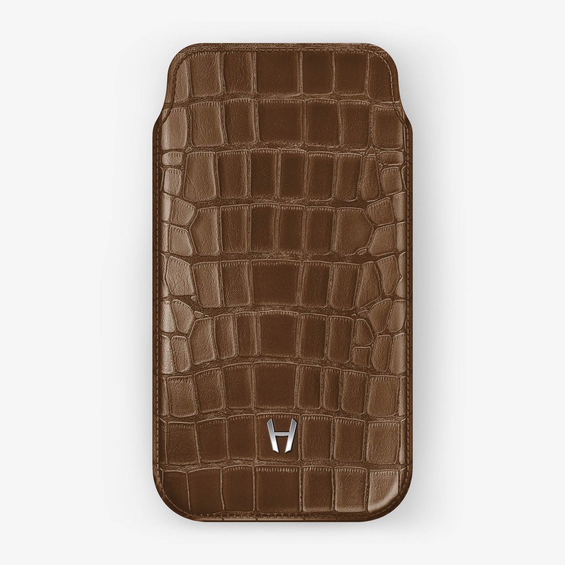 Alligator [iPhone Sleeve Case] [model:iphone-xr-case] [colour:brown] [finishing:stainless-steel]