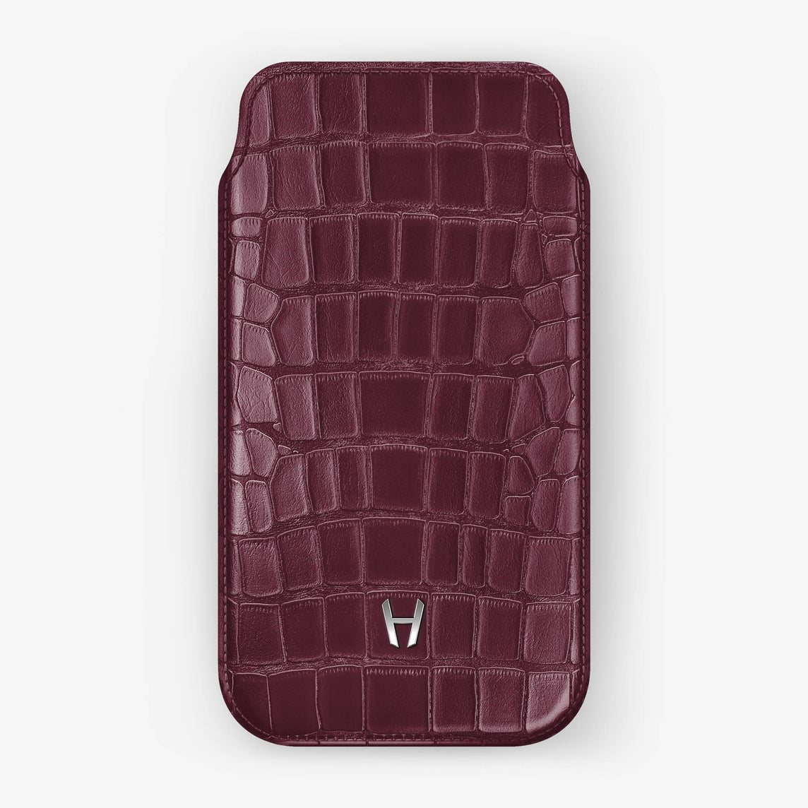 Alligator [iPhone Sleeve Case] [model:iphone-xsmax-case] [colour:burgundy] [finishing:stainless-steel]