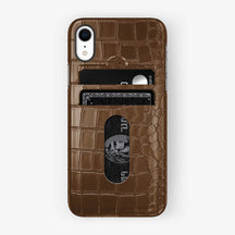 Alligator Card Holder Case iPhone Xr | Brown - Black