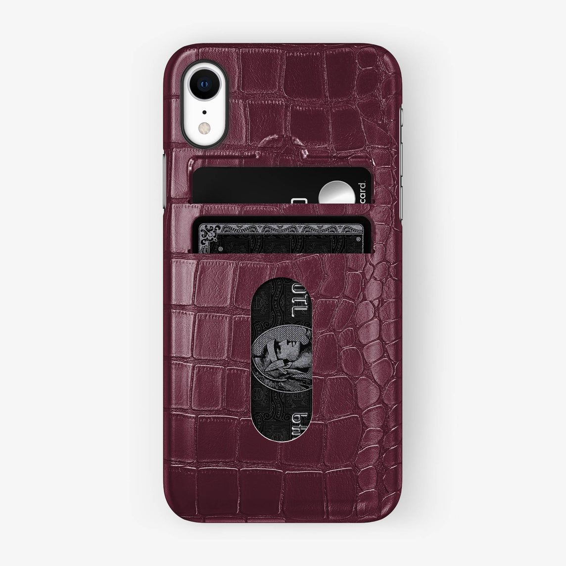 Alligator Card Holder Case iPhone Xr | Burgundy - Black