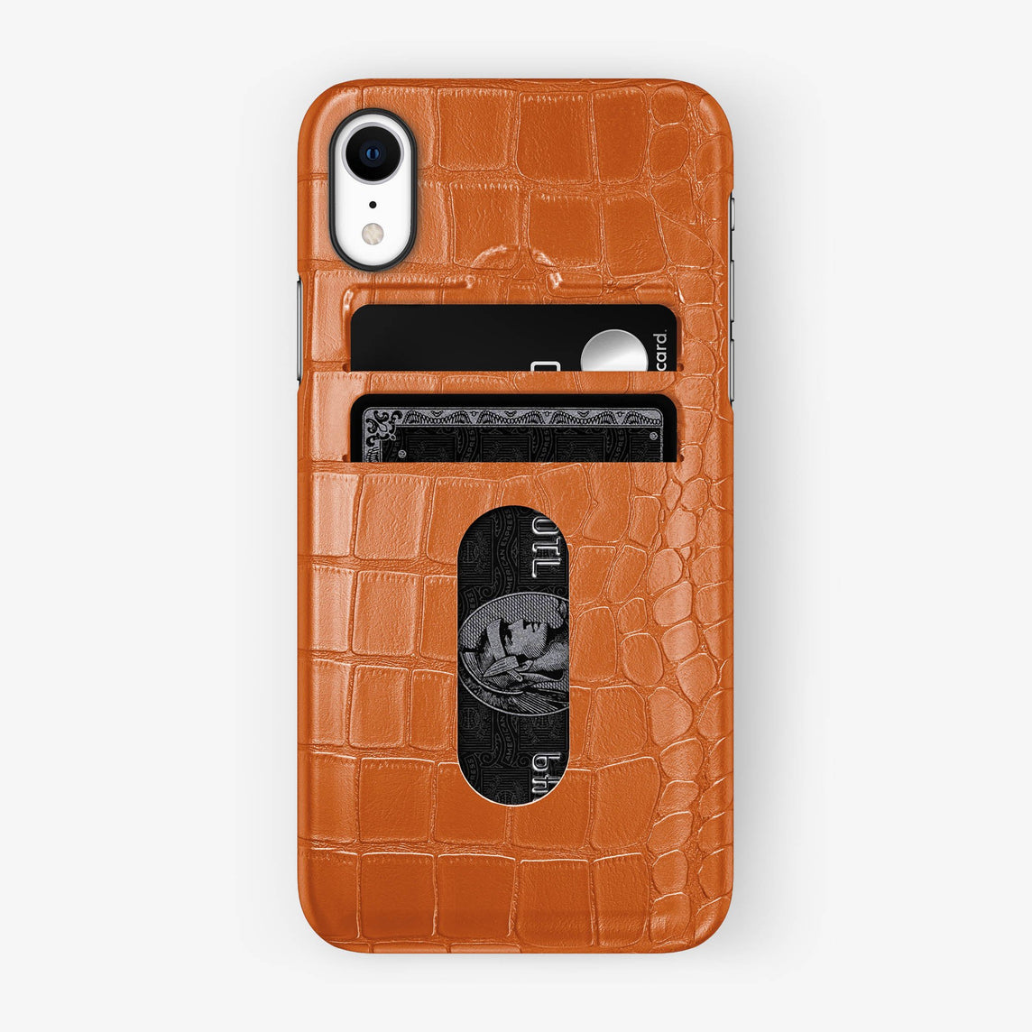 Alligator Card Holder Case iPhone Xr | Orange - Black